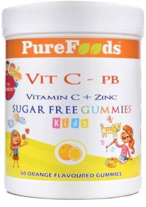 PureFoods Vit C-PB Vitamin C + Zinc Sugar Free Gummies For Kids withPrebiotics