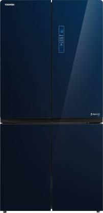 Toshiba 650 L Frost Free French Door Bottom Mount Convertible Refrigerator(Blue Glass, GR-RF646WE-PGI(24))