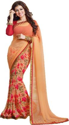Floral Print Fashion Georgette Saree  (Multicolor)