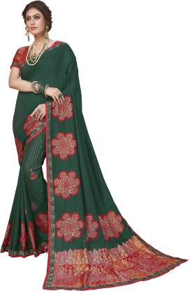 Printed Fashion Pure Silk Saree  (Green)