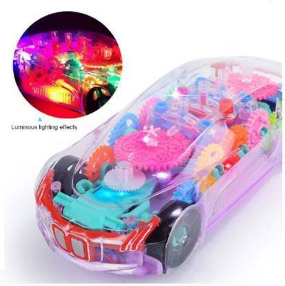 ABCD 3D Super Car Toy, Car Toy for Kids with 360 Degree Rotation, Gear Simulation Mechanical Car, Sound & Light Toys for Kids Boys & Girls (Multicolor, Pack of: 1)