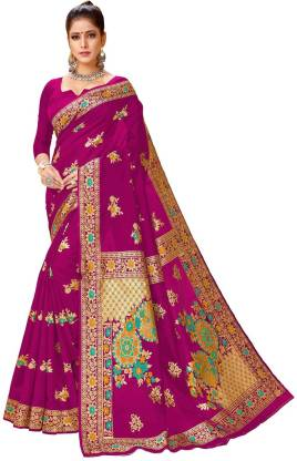 Printed Fashion Jacquard Saree  (Pink)