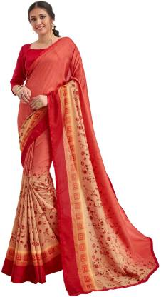 Printed Fashion Pure Silk Saree  (Red, Pink, Orange)