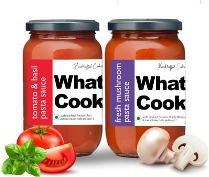 What's Cooking Super Saver Combo Tomato Basil Pasta Sauce & Fresh Mushroom Italian Pasta Sauce (Homemade, Gourmet, Ready to Cook) 300ml Each (Pack of 2) Sauce
