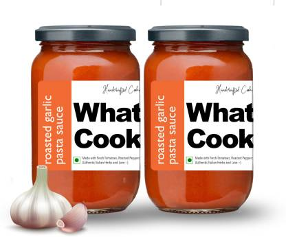 What's Cooking Roasted Garlic Authentic Italian Pasta Sauce Pizza Sauce Dressing (Homemade, Gourmet, Ready to Cook) 300ml (Pack of 2) (2 X 300ml) Sauce
