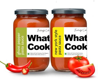 What's Cooking Super Saver Combo New York Style Pasta Sauce & Ghost Pepper Pasta Sauce (Homemade, Gourmet, Ready to Cook) 300ml Each (Pack of 2) Sauce