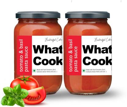 What's Cooking Tomato & Basil Authentic Italian Red Pasta Sauce Pizza Sauce Dressing (Homemade, Gourmet, Ready to Cook) 300ml (Pack of 2) (2 X 300ml) Sauce
