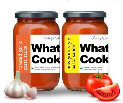 What's Cooking Super Saver Combo New York Style Pasta Sauce & Roasted Garlic Pasta Sauce (Homemade, Gourmet, Ready to Cook) 300ml Each (Pack of 2) Sauce