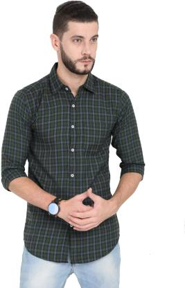 Asian & Fitch Men Checkered Casual Purple, Green, Black Shirt