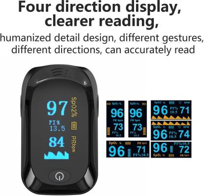 RVS Pulse Oximeter Professional Series Finger Tip Pulse Pulse Oximeter with OLED Display & Auto Power Off (Black Colour) Pulse Oximeter