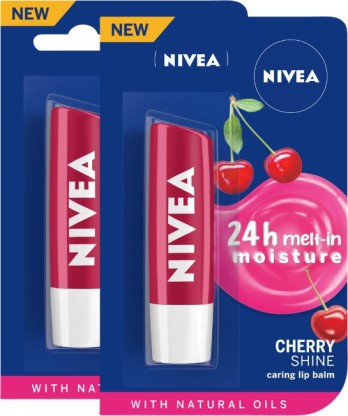 NIVEA Cherry Fruity Shine Lip Balm Cherry  (Pack of: 2)