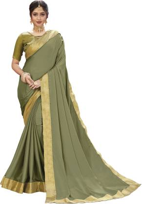 Solid Fashion Chiffon Saree  (Light Green)