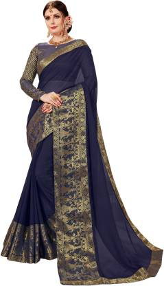 Self Design Fashion Chiffon Saree  (Gold, Blue)