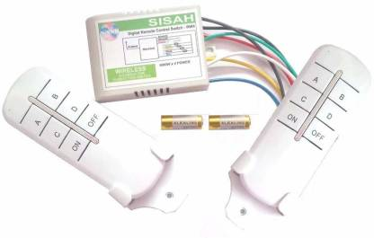SiSAH 4CH Remote Control Switch Receiver 2 Transmitter (White, Small) Smart Switch