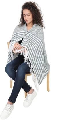 Lulamom Breast Feeding Shawl, Nursing Cloak, Innovative Shape-Changing Poncho- Mini Stripes (Green) Feeding Cloak