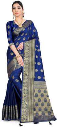 Woven Fashion Silk Blend, Nylon Blend Saree  (Blue)
