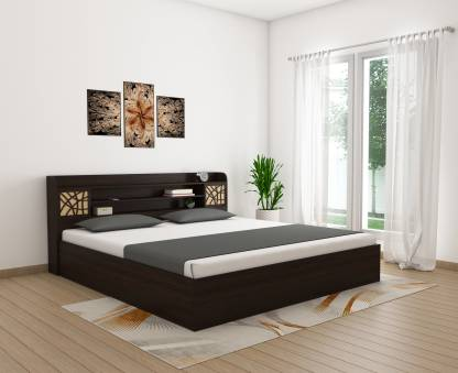 Best African Walnut Color Engineered Wood King Box Bed