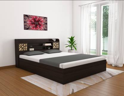 African Walnut Finish Sunflower Engineered Wood Queen Box Bed – Okra