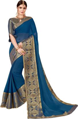 Self Design Fashion Chiffon Saree  (Blue)