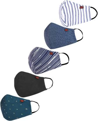 Billion BREATH reusable outdoor mask FM12 Washable Cloth Mask  (Multicolor, Free Size, Pack of 5, 3 Ply)