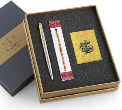 PARKER Galaxy Stainless Steel Gold Trim with Rakhi Gift Set with Roli Chandan Pen Gift Set