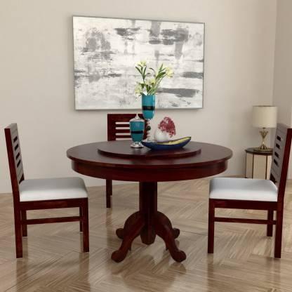 Allie Wood Marrigo Sheesham Wood Round Rotating Top Solid Wood 3 Seater Dining Set