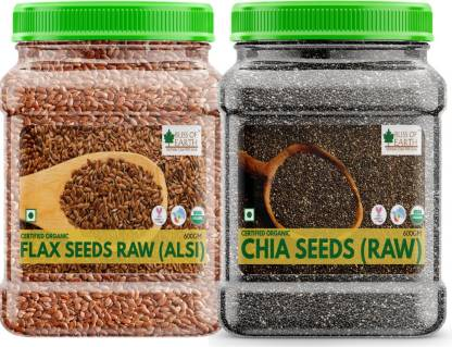 Bliss of Earth 2X600GM Certified Organic Combo Chia Seeds & Flax Seeds Raw Superfood For Weight Loss