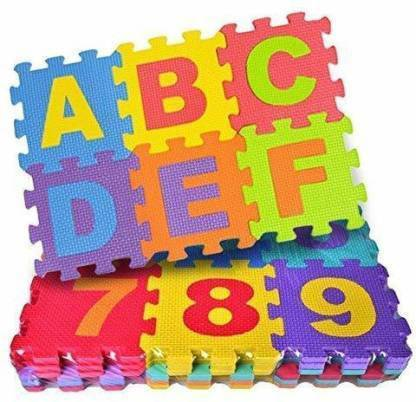 PRRO ABC and Numbers Puzzle Mat Non Toxic EVA Foam Alphabet and Number Interlock Puzzle Mat for Kids Learn and Play, 36 Blocks