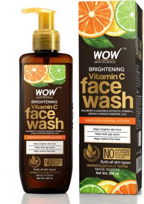 WOW SKIN SCIENCE Brightening Vitamin C  - with Mulberry & Liquorice Extracts, Lemon & Orange Essential Oils - For Brightening Skin Tone - No Parabens, Sulphate, Silicones & Color - 200mL Face Wash