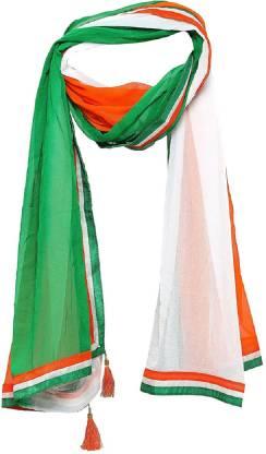 Chiffon Self Design Green, White, Orange Women Dupatta