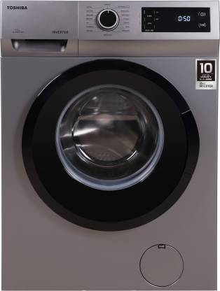 TOSHIBA 7.5 kg COLOR ALIVE, Drum Clean Technology, 15-Minute Quick Wash Fully Automatic Front Load with In-built Heater Silver