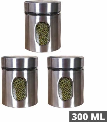 Mahakal Stainless Steel Kitchen Canister Airtight Food Storage Jars With Lid Visible Window Seasoning Cereal Container