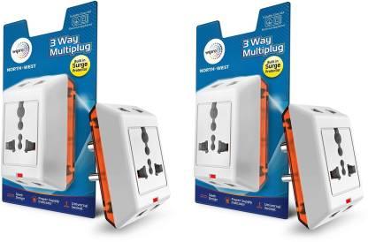 Wipro North West 3 Way Multiplug_2 Three Pin Plug(White)