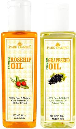 PARK DANIEL Premium Rosehip oil and Grapeseed oil combo of 2 bottles of 100 ml (200ml) Hair Oil