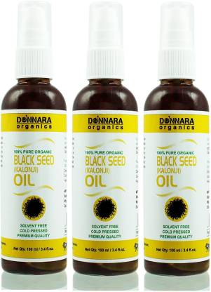Donnara Organics Premium Black Seed(Kalonji) oil- 100% Pure & Natural Combo pack of 3 bottles of 100 ml(300 ml) Hair Oil