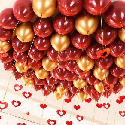 hotchpotch Solid Metallic Red And Gold Balloons Pack of 50 Balloon
