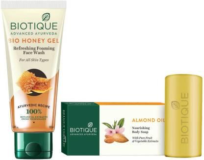 BIOTIQUE EverGreen Skin Care Pack - Bio Honey Gel Face Wash100ml, Bio Soap Almond Oil Soap 150GM