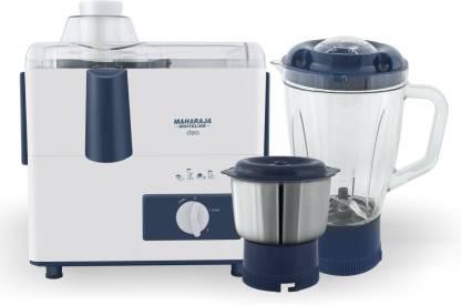 MAHARAJA WHITELINE CLEO (JX-115) 450 W Juicer Mixer Grinder (2 Jars, White, Blue)