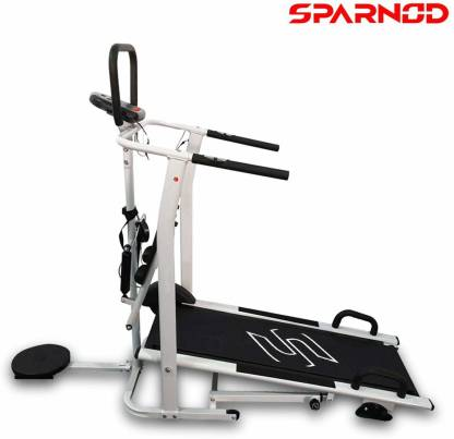 Sparnod Fitness STH-600 Manual Treadmill for Home Gym - 4 in 1 Multifunction Walking/Running Machine Treadmill