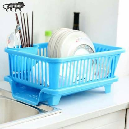 Ketsaal 3 in 1 Large Sink Drying Washing Basket with Tray and Cutlery Holder Chopsticks Spoon Organizer Dish Drainer Kitchen Rack