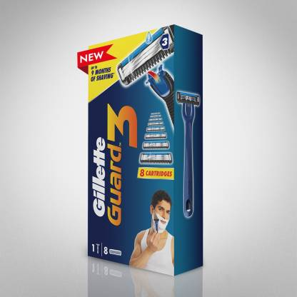 GILLETTE Guard 3 Shaving Combo  (1 Razor + 8 Cartridges)