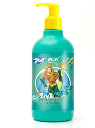 WOW SKIN SCIENCE Kids 3 in 1 Wash - Shampoo + Conditioner + Body Wash - Ocean King Aquaman Edition - No Parabens, Color, Mineral Oil, Silicones & Sulphate - 300mL