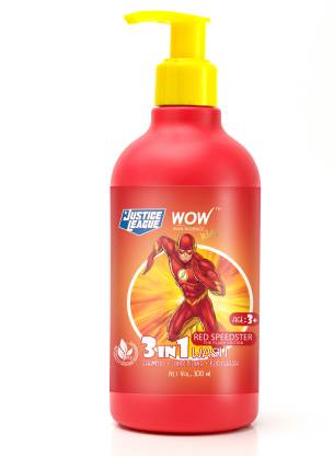 WOW SKIN SCIENCE Kids 3 in 1 Wash - Shampoo + Conditioner + Body Wash - Red Speedster FlashEdition - No Parabens, Color, Mineral Oil, Silicones & Sulphate - 300mL
