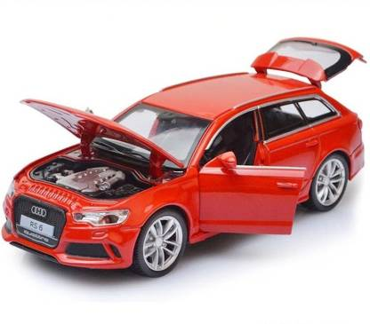 SPEEDYZONE 1:32 Scale Diecast Alloy Metal Luxury SUV Car Model For Audi RS6 Quattro Collection Model Pull Back Toys Car Sound & Light