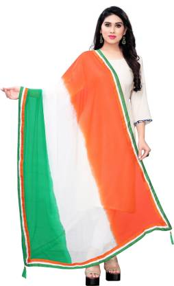 Chiffon Embellished, Solid Orange, White, Green Women Dupatta