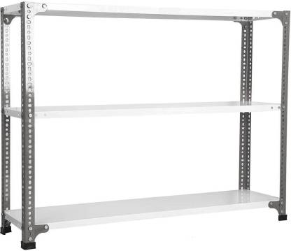 "Spacious Slotted Angle CRC Sheet 3 Shelves Multipurpose High Grade Powder Coating Storage Rack Dimension 15""X36""X59"" (DA Grey/Ivory) Luggage Rack Luggage Rack"