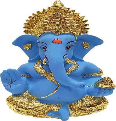 Saugat Traders Ganesh Idol for Card Dashboard - Gold Plated Ganesh Idol-Ganesh Ji Murti-Ganesh Statue-Ganesh Chaturthi Gift Decorative Showpiece - 8.128 cm(Polyresin, Multicolor)