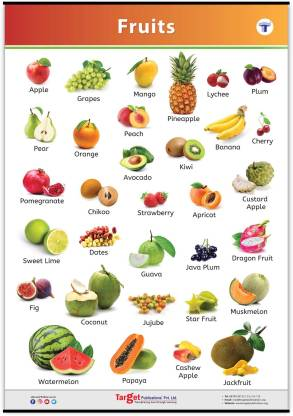 Target Publications Jumbo All in One Fruits Chart for Kids | Perfect Early Learning Educational Chart for Homeschooling, Kindergarten and Nursery Children | 39.25 x 27.25 Inch