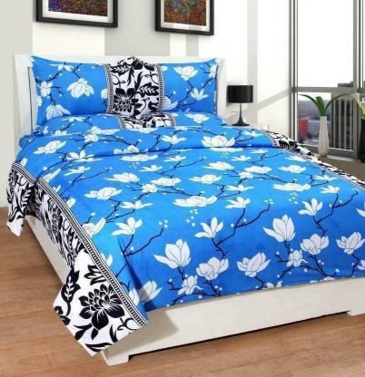 neet enterprises 140 TC Cotton Double 3D Printed Bedsheet
