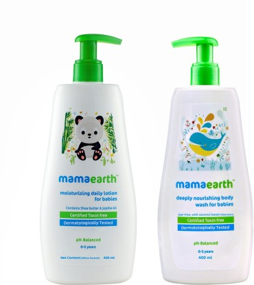 Mamaearth Deeply Nourishing Body Wash for Babies 400ml + Moisturizing Daily Lotion For Babies 400 ml